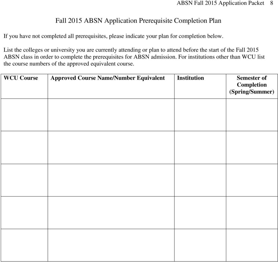 List the colleges or university you are currently attending or plan to attend before the start of the Fall 2015 ABSN class in order to