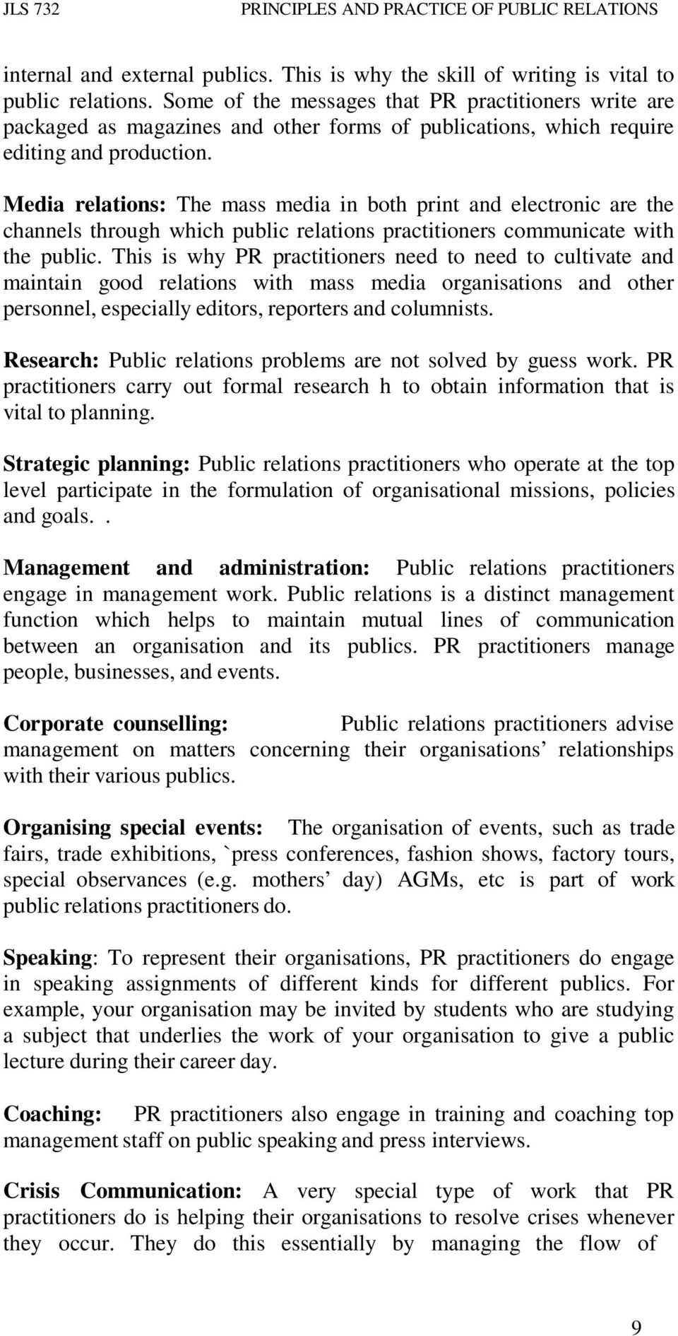 functions of public relations practitioner