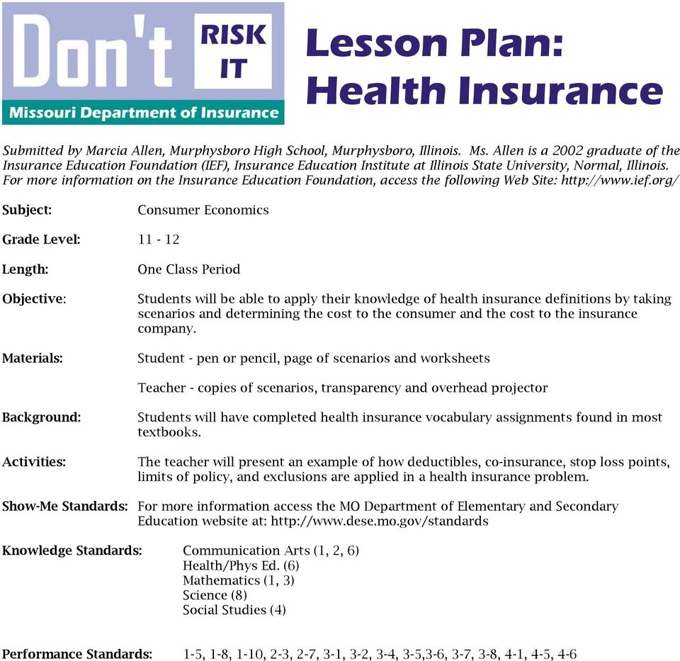 Lesson Plan Health Insurance Pdf Free Download