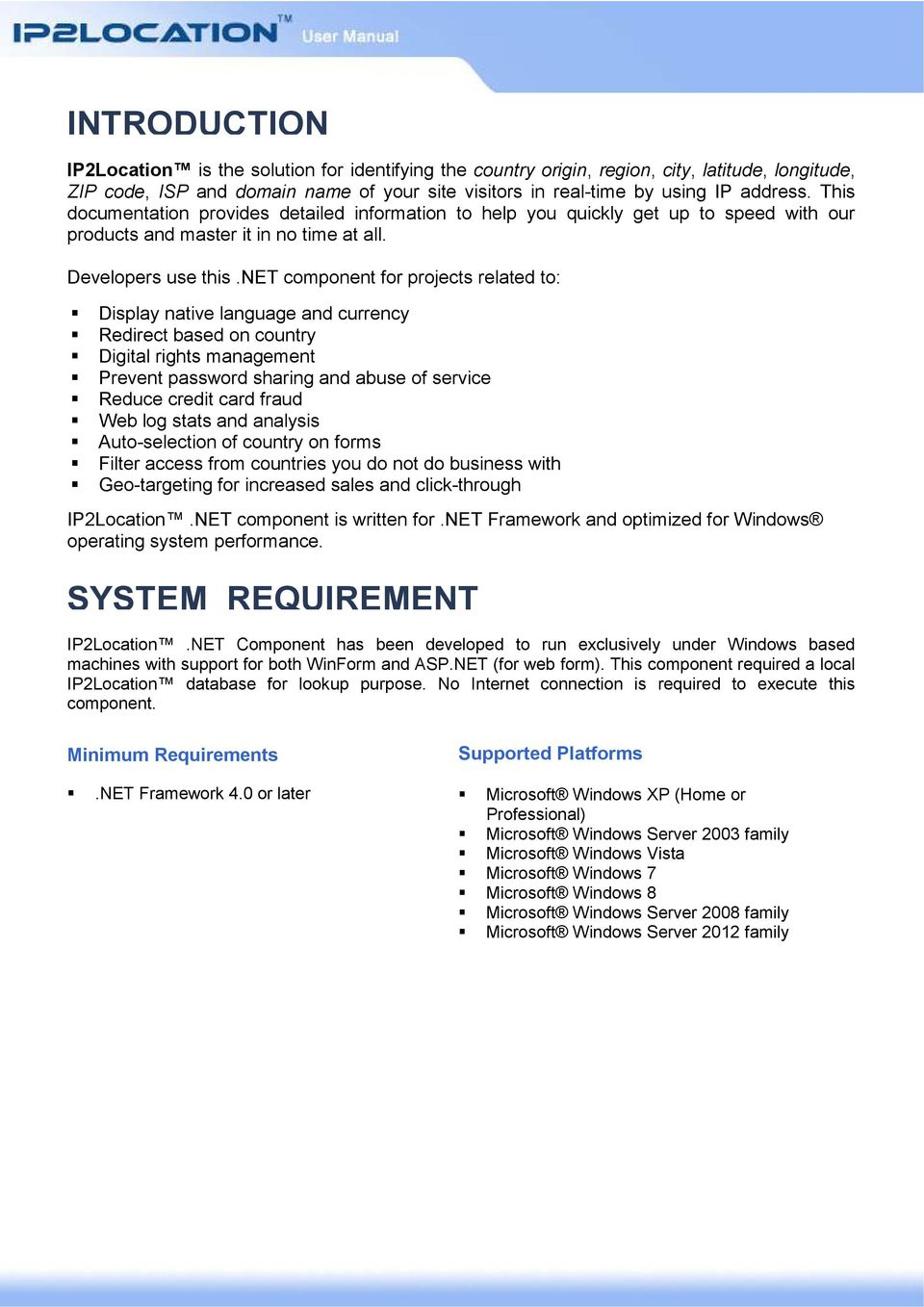 INTRODUCTION SYSTEM REQUIREMENT - PDF