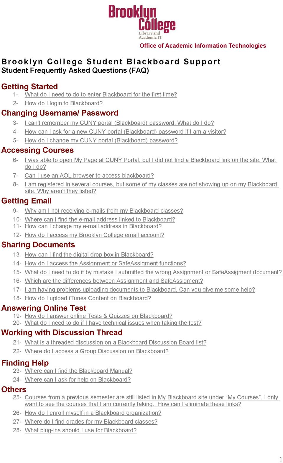4 How Can I Ask For A New Cuny Portal Blackboard Password If I