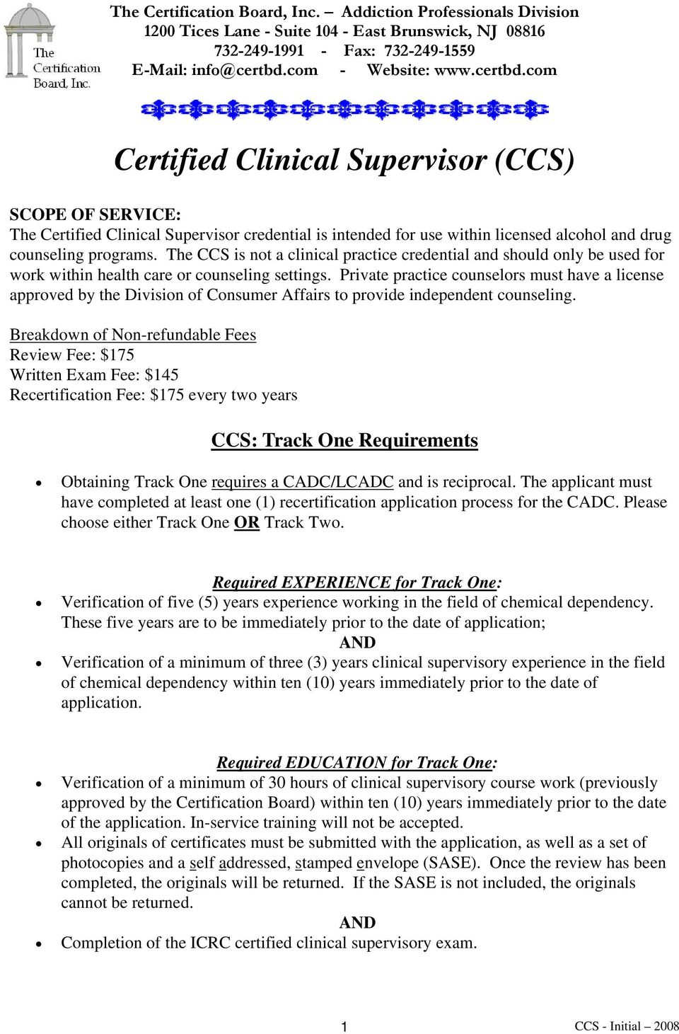 Certified Clinical Supervisor Ccs Pdf