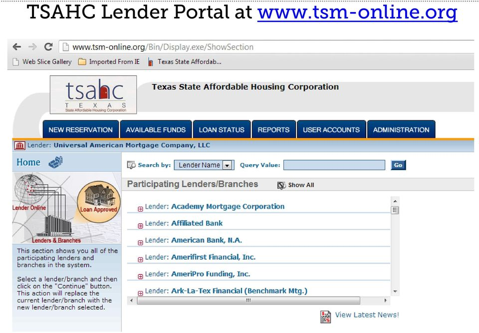 Welcome to the TSAHC Lender Training - PDF