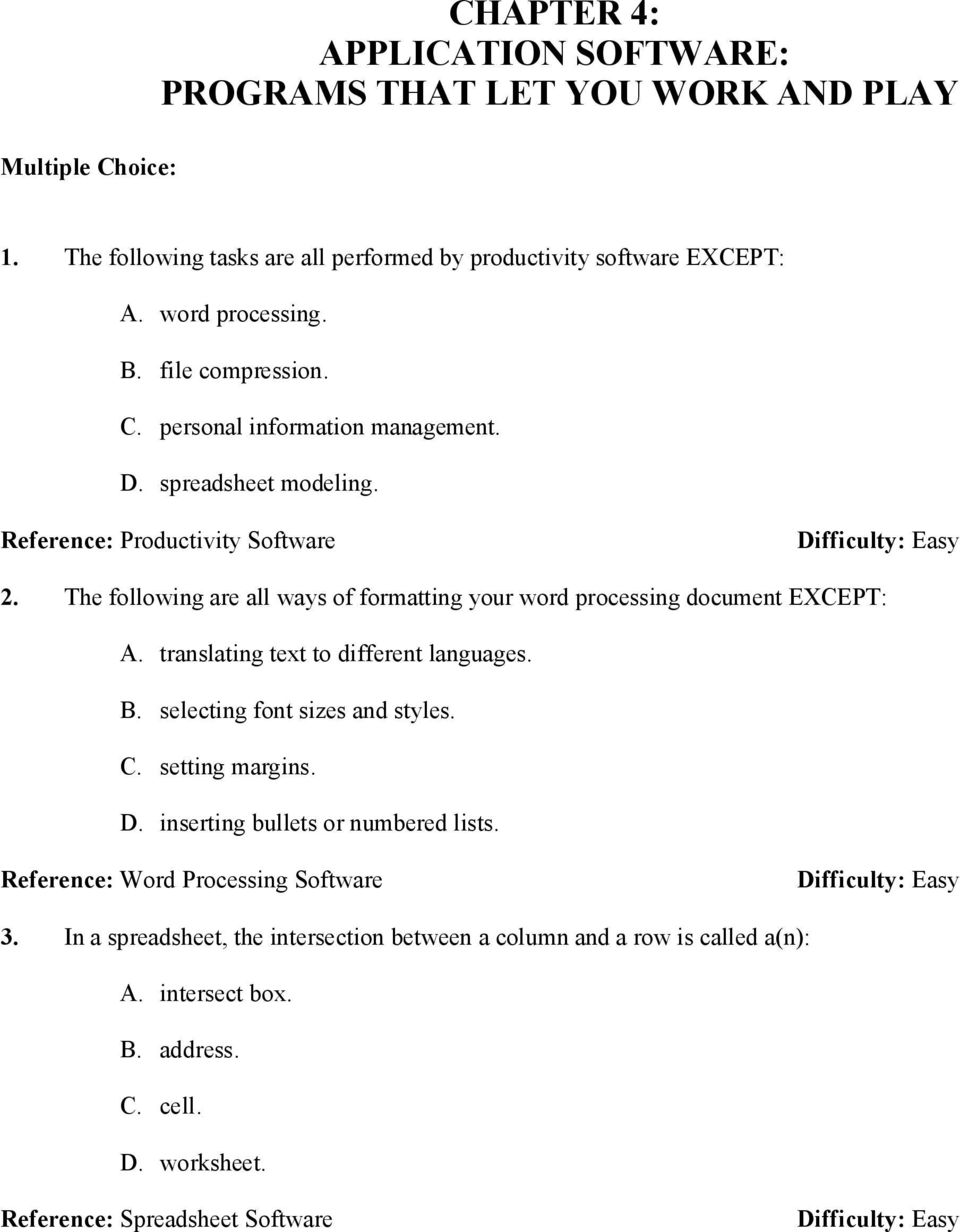 CHAPTER 4: APPLICATION SOFTWARE: PROGRAMS THAT LET YOU WORK