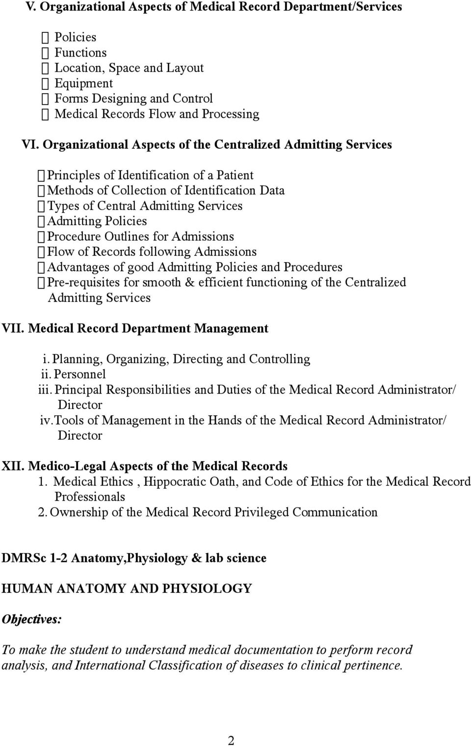 Syllabus For Dmrsc 1 1 Medical Record Science Pdf