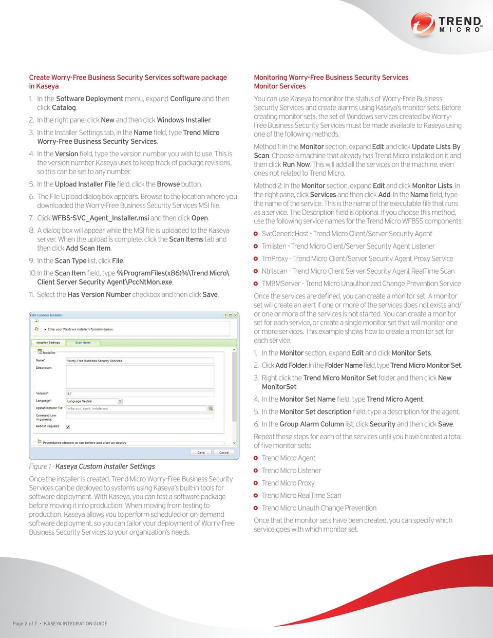 Trend Micro KASEYA INTEGRATION GUIDE - PDF