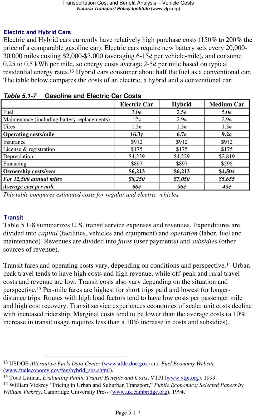 Transportation Cost and Benefit Analysis Vehicle Costs