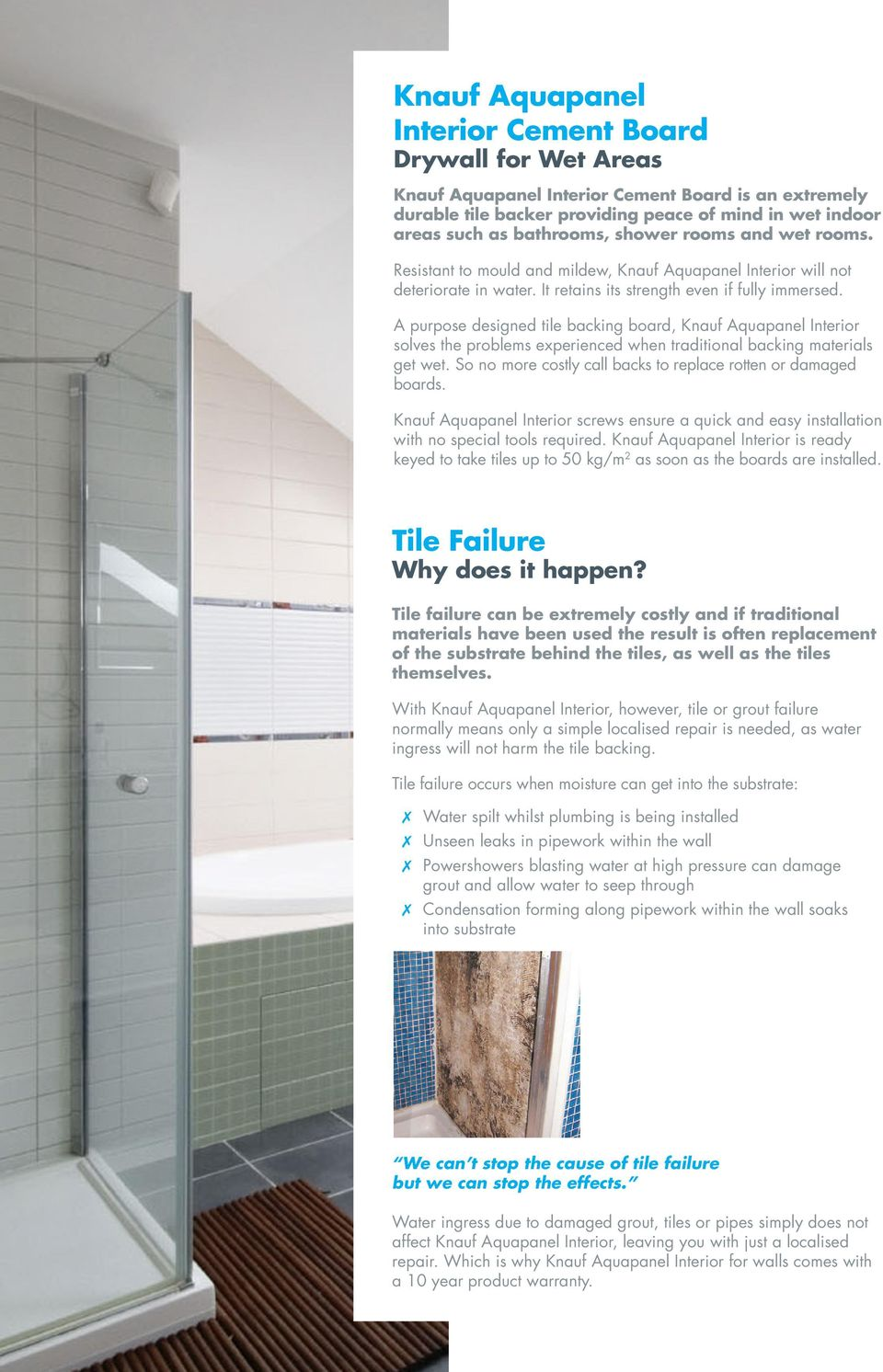 Knauf Aquapanel Interior Tile Backing Cement Board For Wet Areas