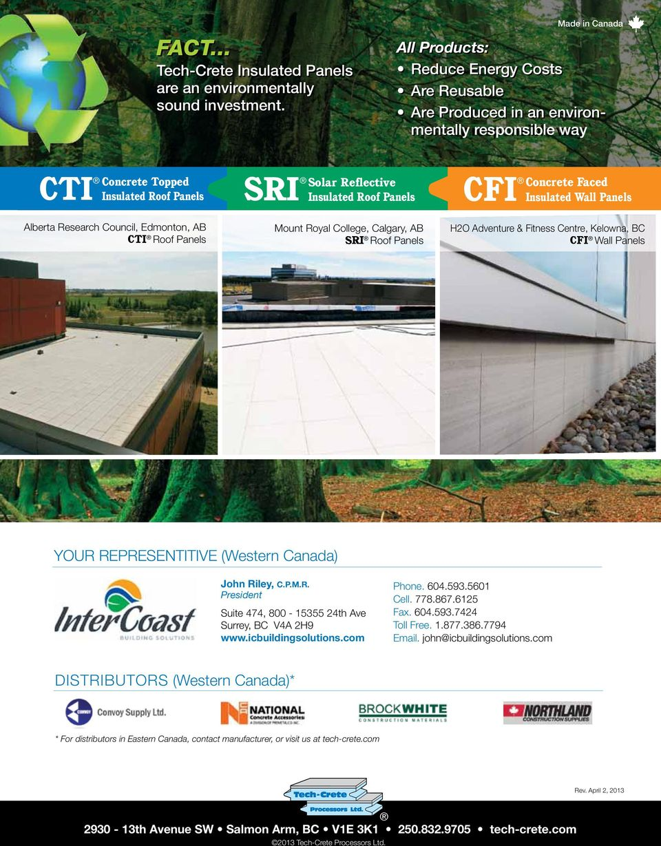 Cfi Sri Cti Insulated Panel Products Concrete Faced Insulated Wall Panels Concrete Topped Insulated Roof Panels Pdf Free Download