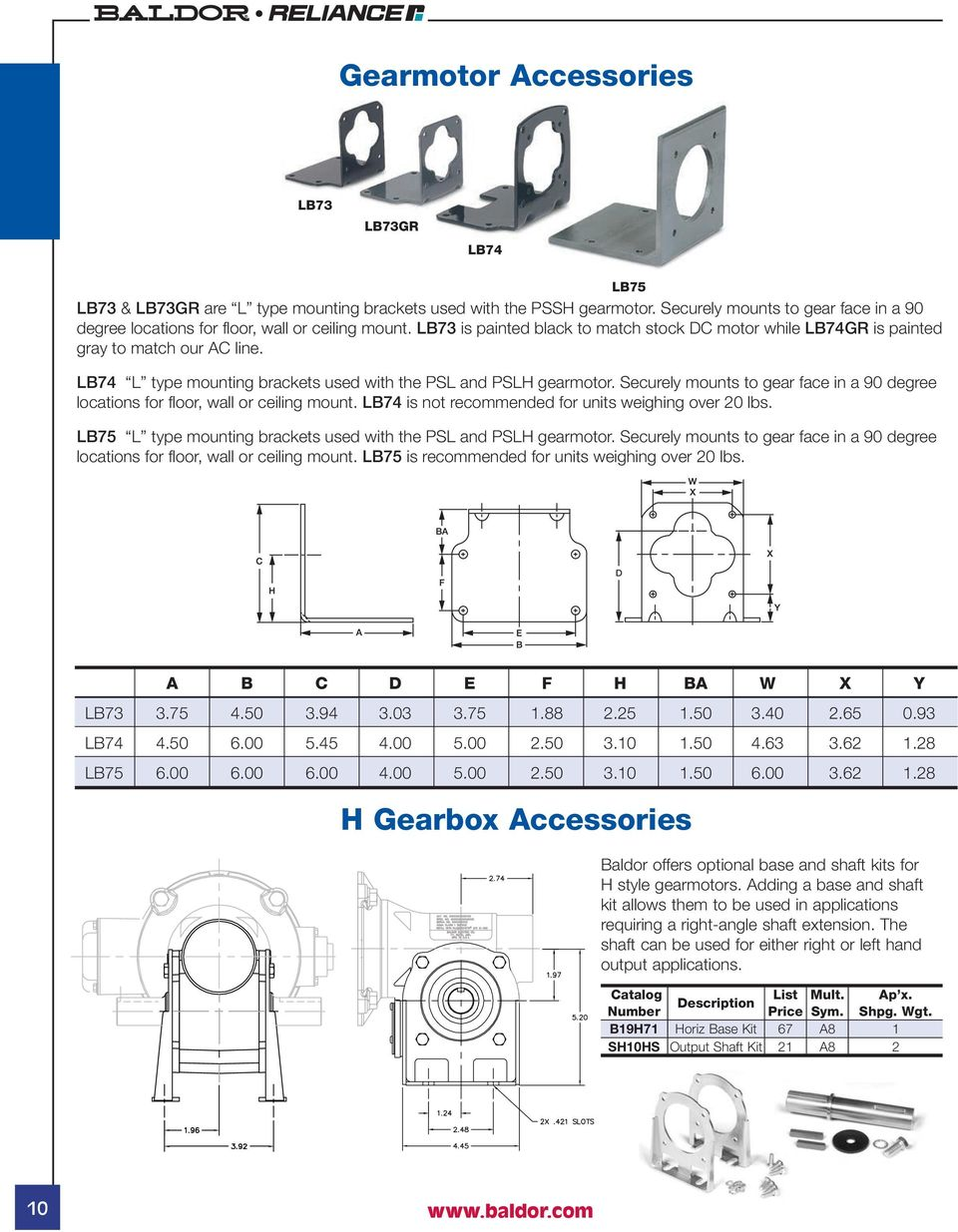 Gearmotors Speed Reducers Pdf Lb75 Wiring Diagram Lb74 L Type Mounting Brackets Used With The Psl And Pslh Gearmotor Securely Mounts To