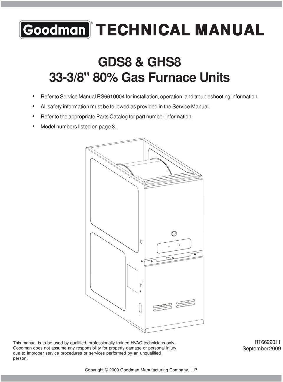 Technical Manual Gds8 Ghs8 Pdf Goodman Furnace Wiring Diagram For Gas Units This Is To Be Used By Qualified Professionally Trained Hvac Technicians Only