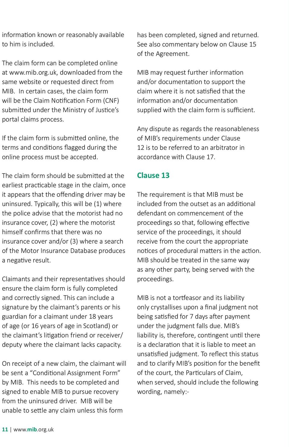Notes For Guidance Mib Uninsured Agreement 2015 1 Pdf