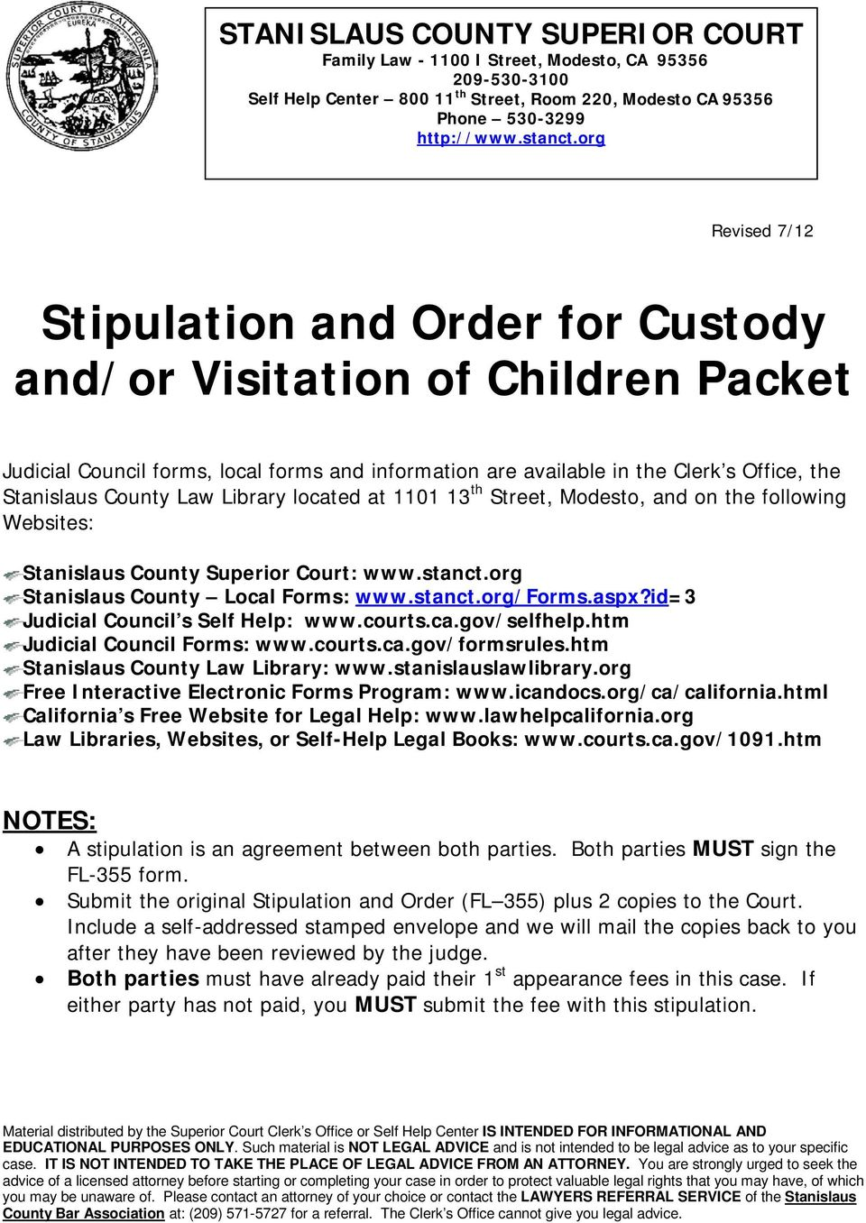 Stipulation and Order for Custody and/or Visitation of