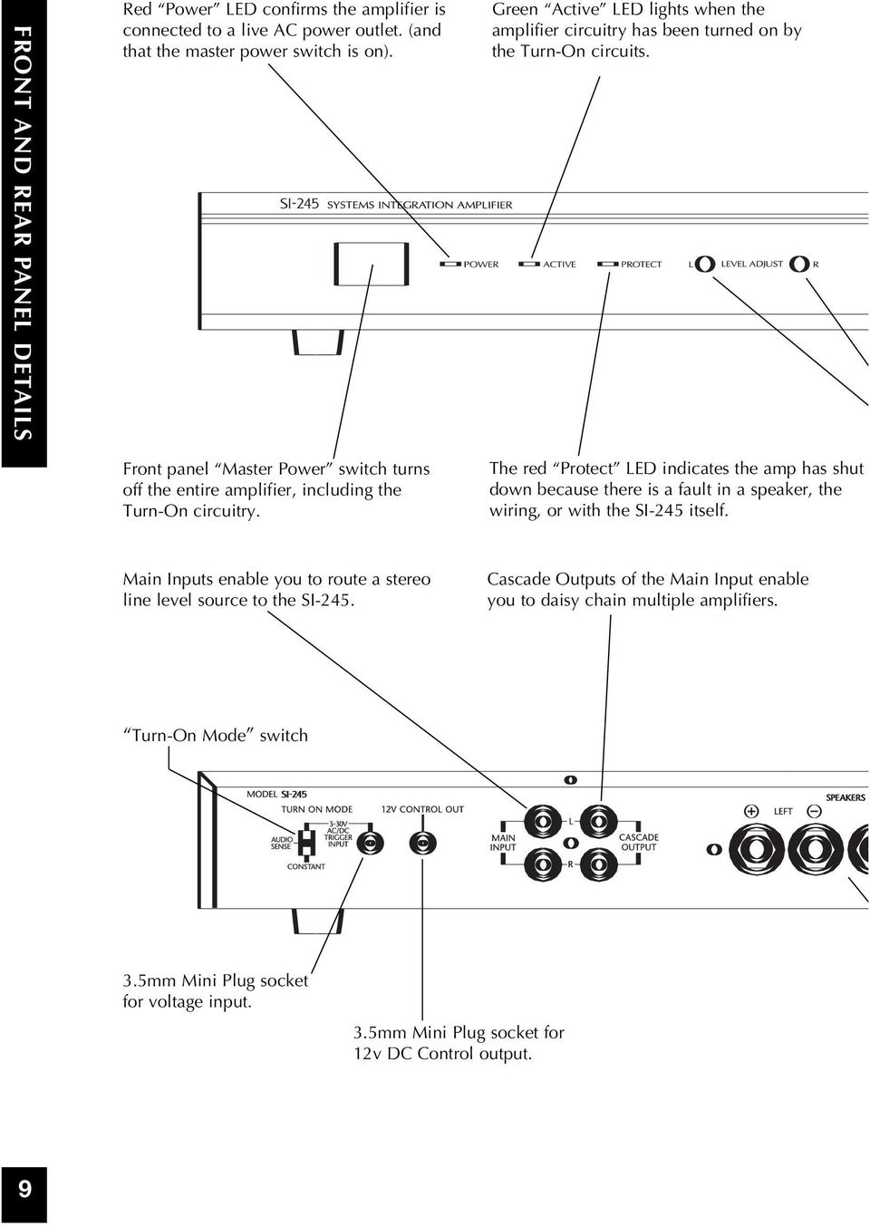 Installation Operation Guide Systems Integration Amplifier Pdf Daisy Chain Speakers Wiring Diagram Green Active Led Lights When The Circuitry Has Been Turned On By Turn