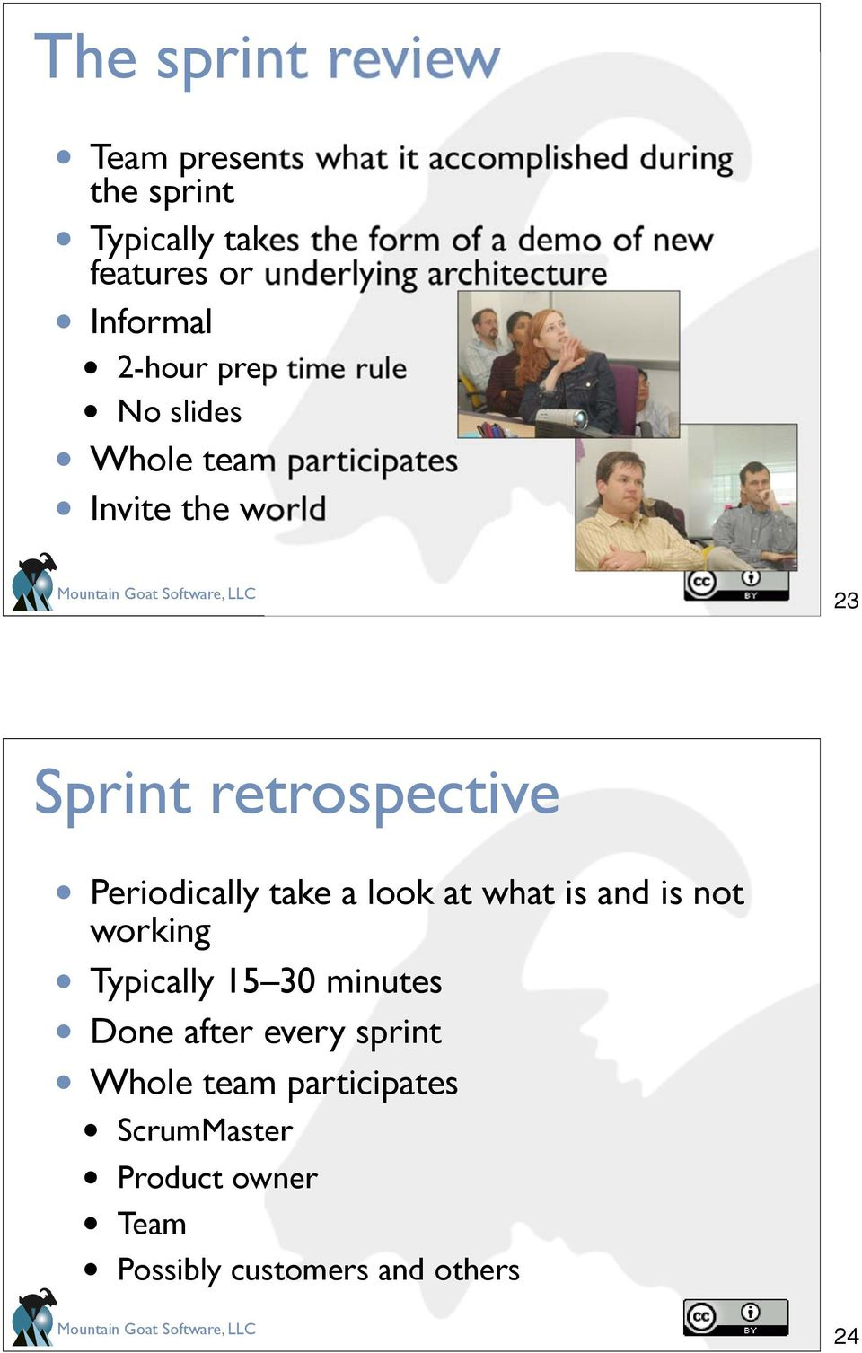 the world 23 Sprint retrospective Periodically take a look at what is and is not working Typically 15 30