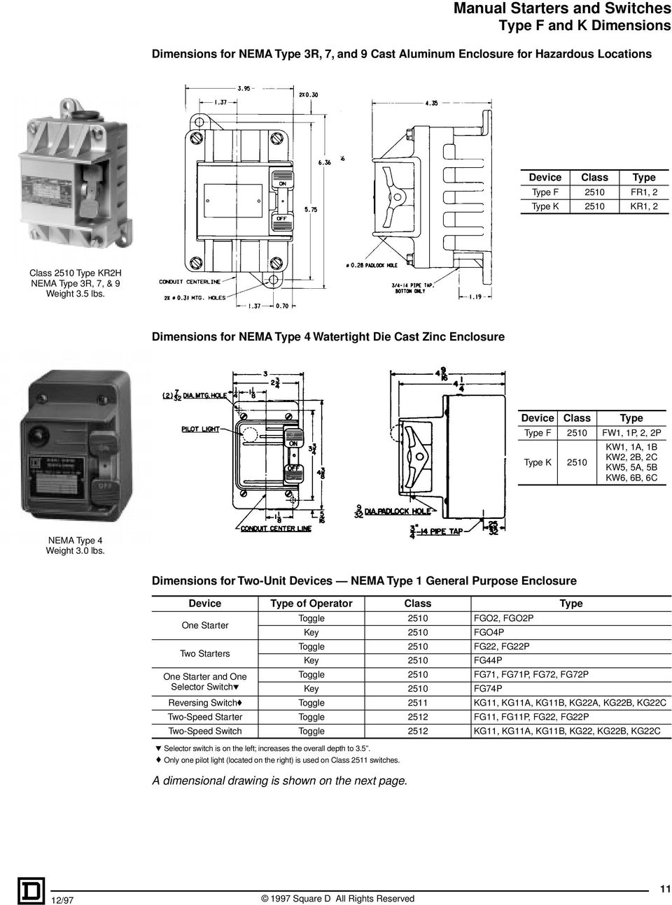 Manual Starters And Switches Selection Guide Pdf Ronk Transfer Switch Wiring Diagram Dimensions For Two Unit Devices Nema Type 1 General Purpose Device Class One