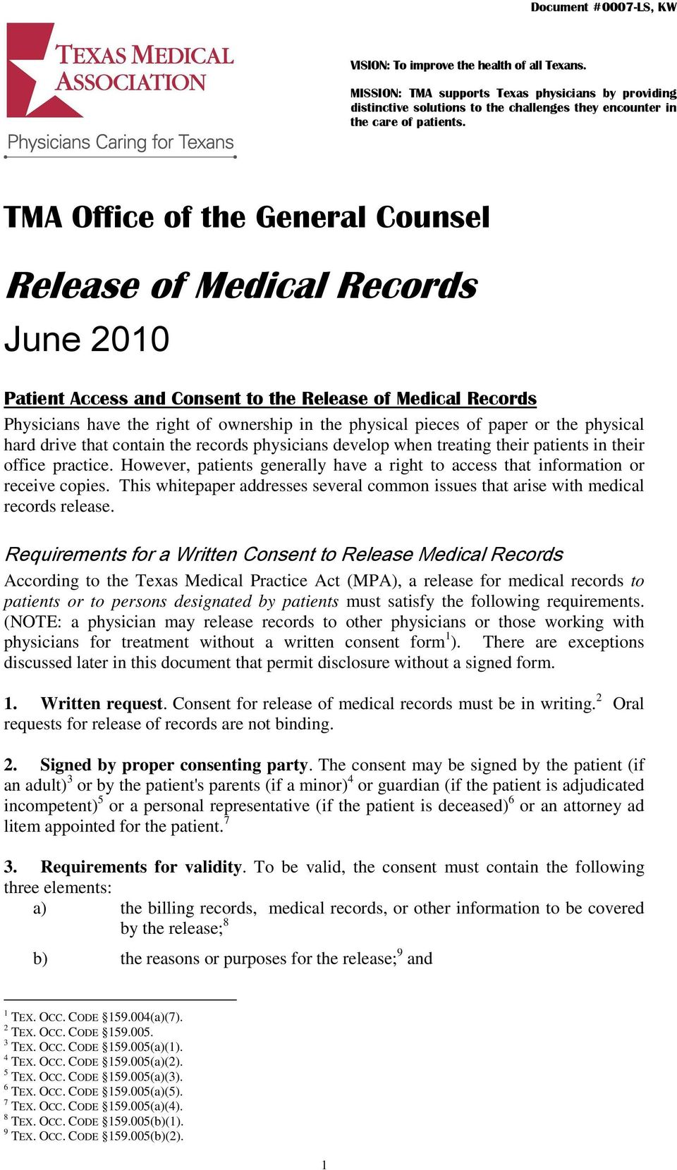 release of medical records pdf