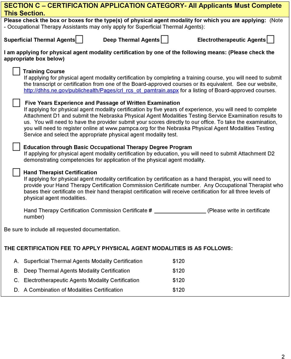APPLICATION FOR PHYSICAL AGENT MODALITY CERTIFICATION - PDF
