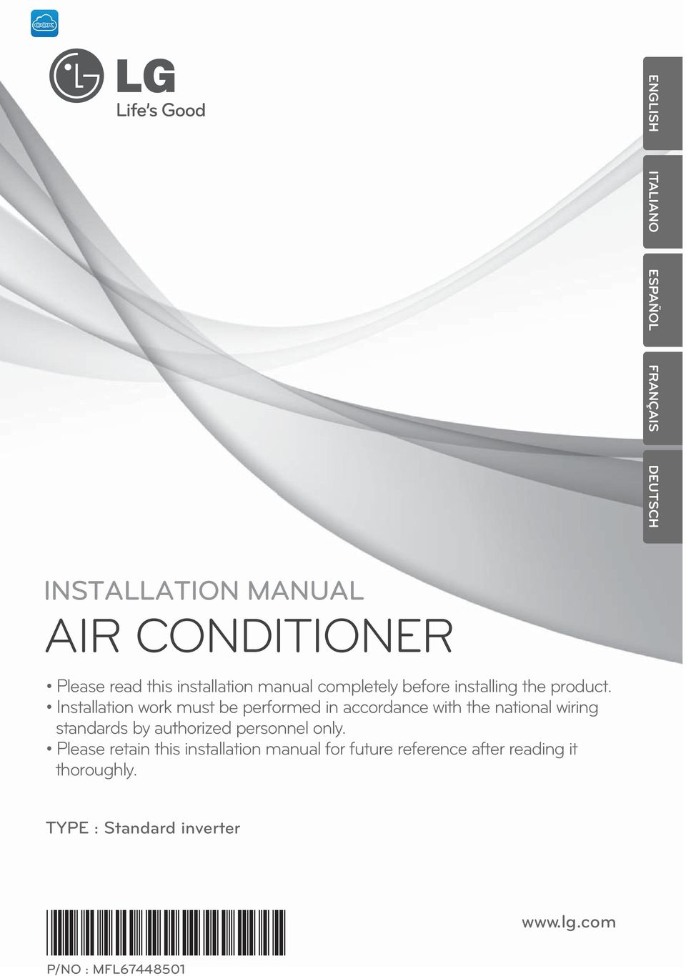 Air Conditioner Installation Manual Pdf Lg Wiring Diagram Work Must Be Performed In Accordance With The National Standards By Authorized 2 Single A