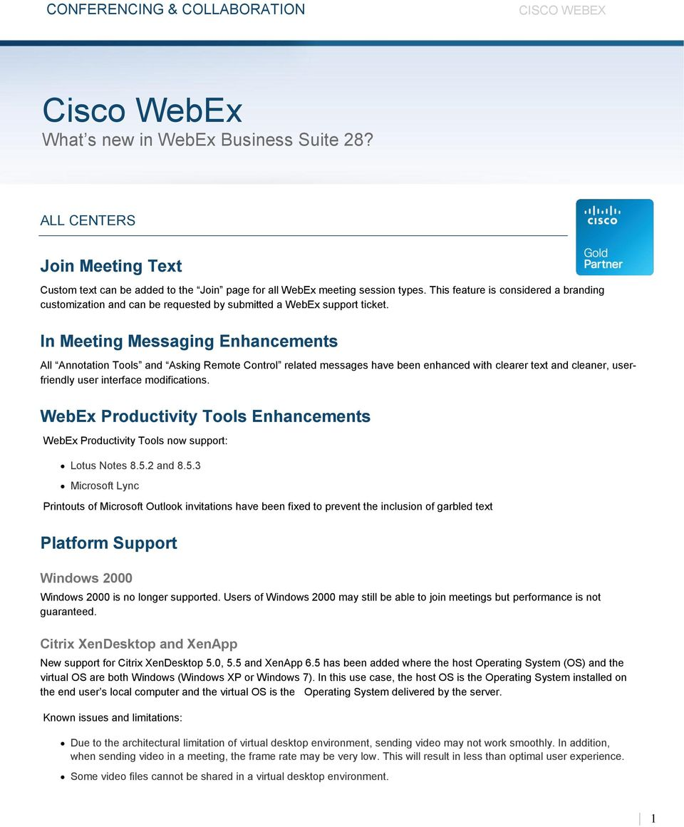 Cisco WebEx What s new in WebEx Business Suite 28? - PDF
