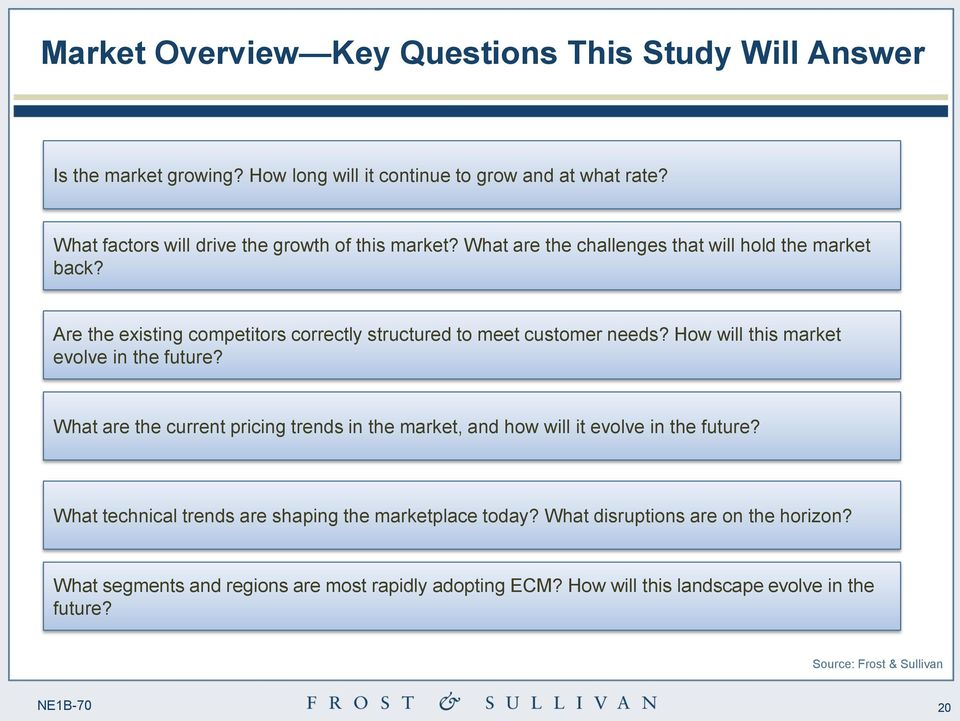Are the existing competitors correctly structured to meet customer needs? How will this market evolve in the future?