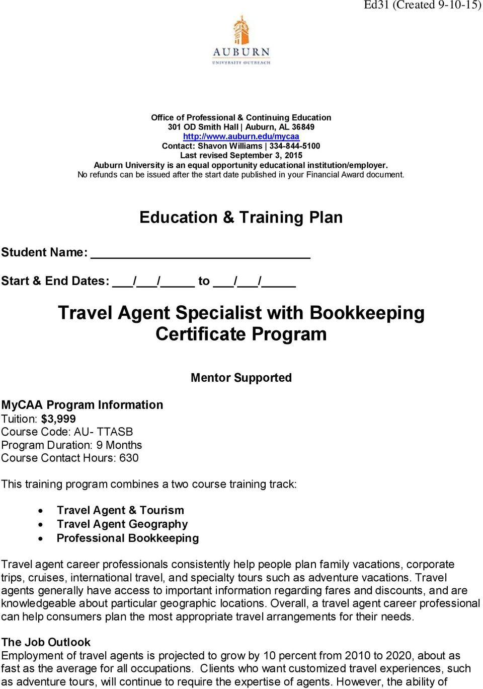 Travel Agent Specialist with Bookkeeping Certificate Program - PDF