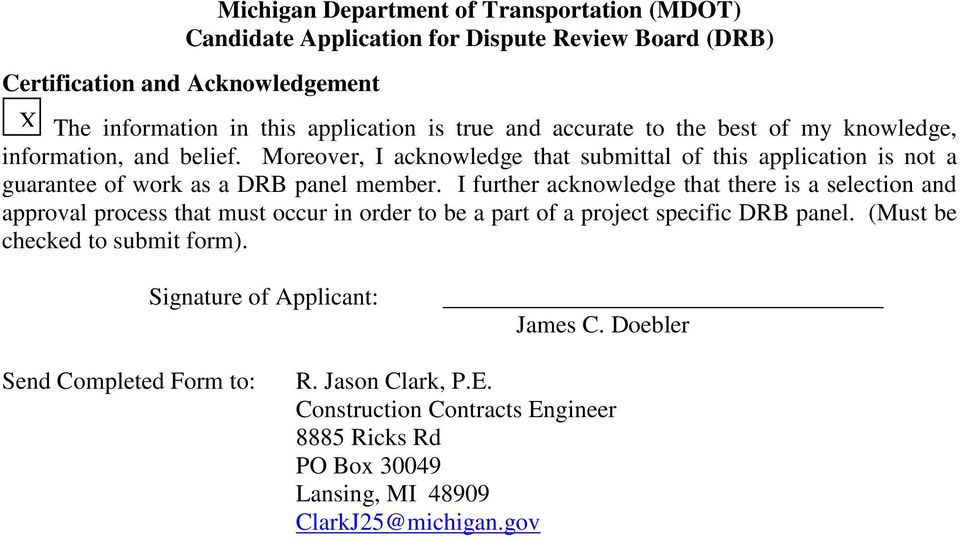 Michigan Department of Transportation (MDOT) Candidate Application