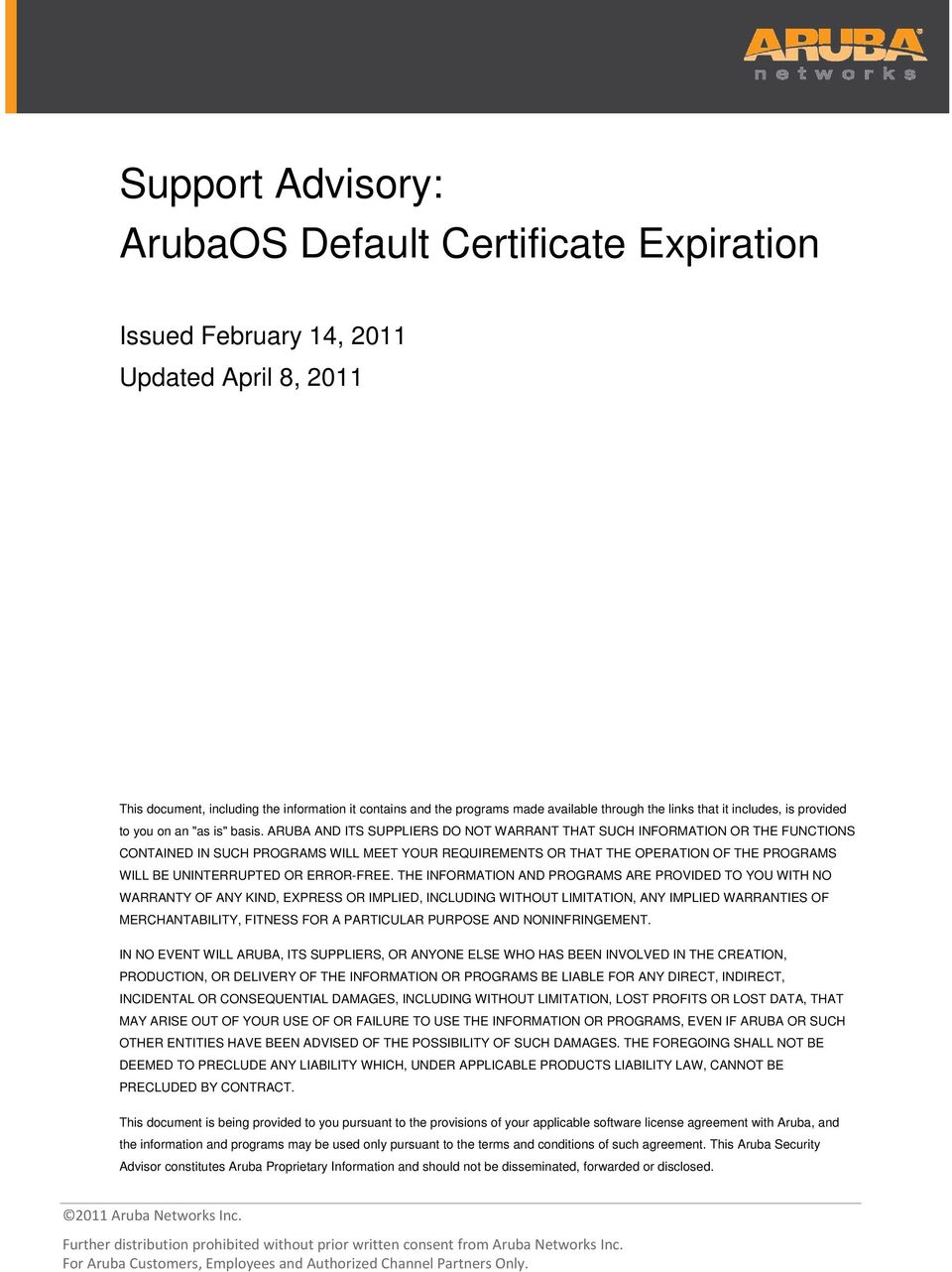 Support Advisory: ArubaOS Default Certificate Expiration - PDF