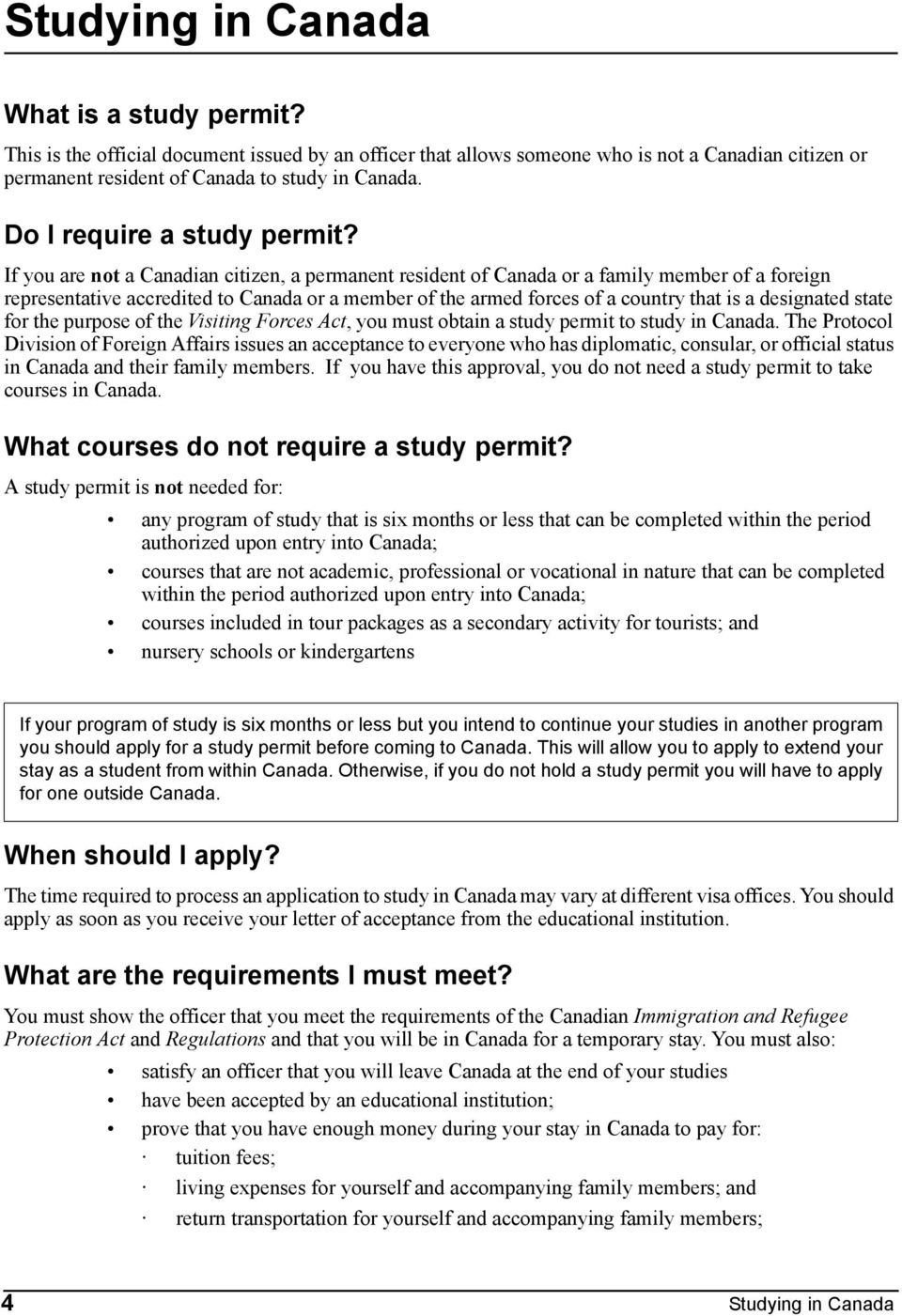 Immigration Canada Studying In Canada Applying For A Study Permit Outside Canada Table Of Contents Appendices Forms Pdf Free Download