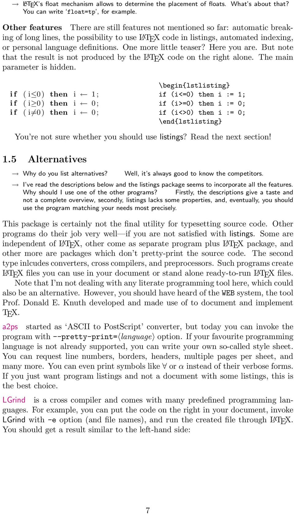 The Listings Package - PDF