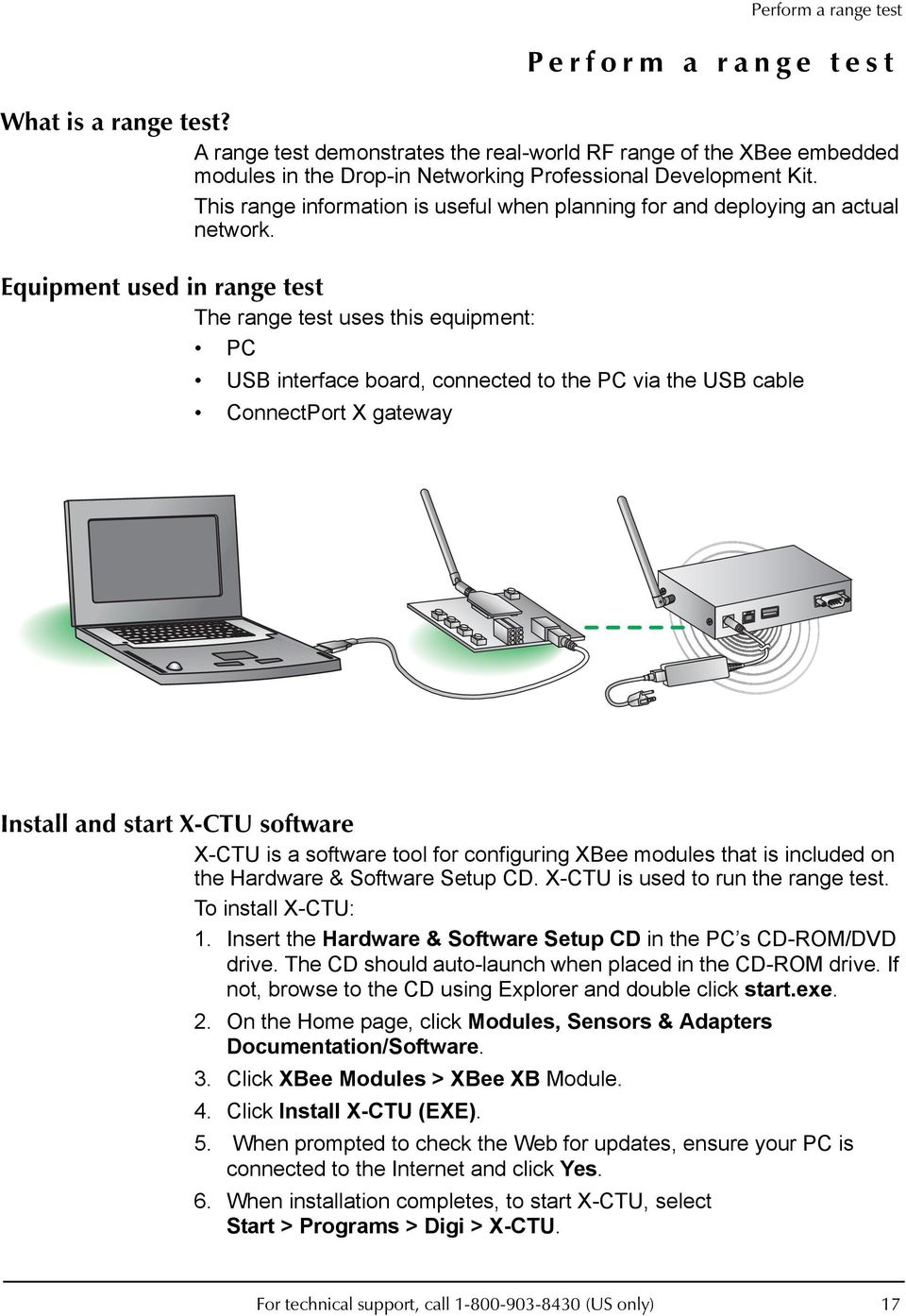 Equipment used in range test The range test uses this equipment: PC USB interface board, connected to the PC via the USB cable ConnectPort X gateway Install and start X-CTU software X-CTU is a