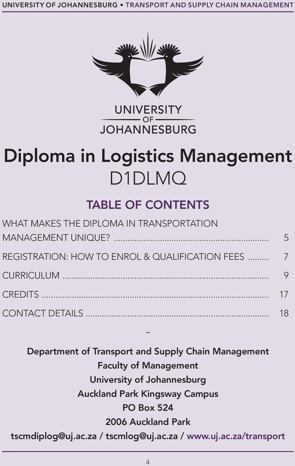 D1DLMQ  Diploma in Logistics Management FACULTY OF