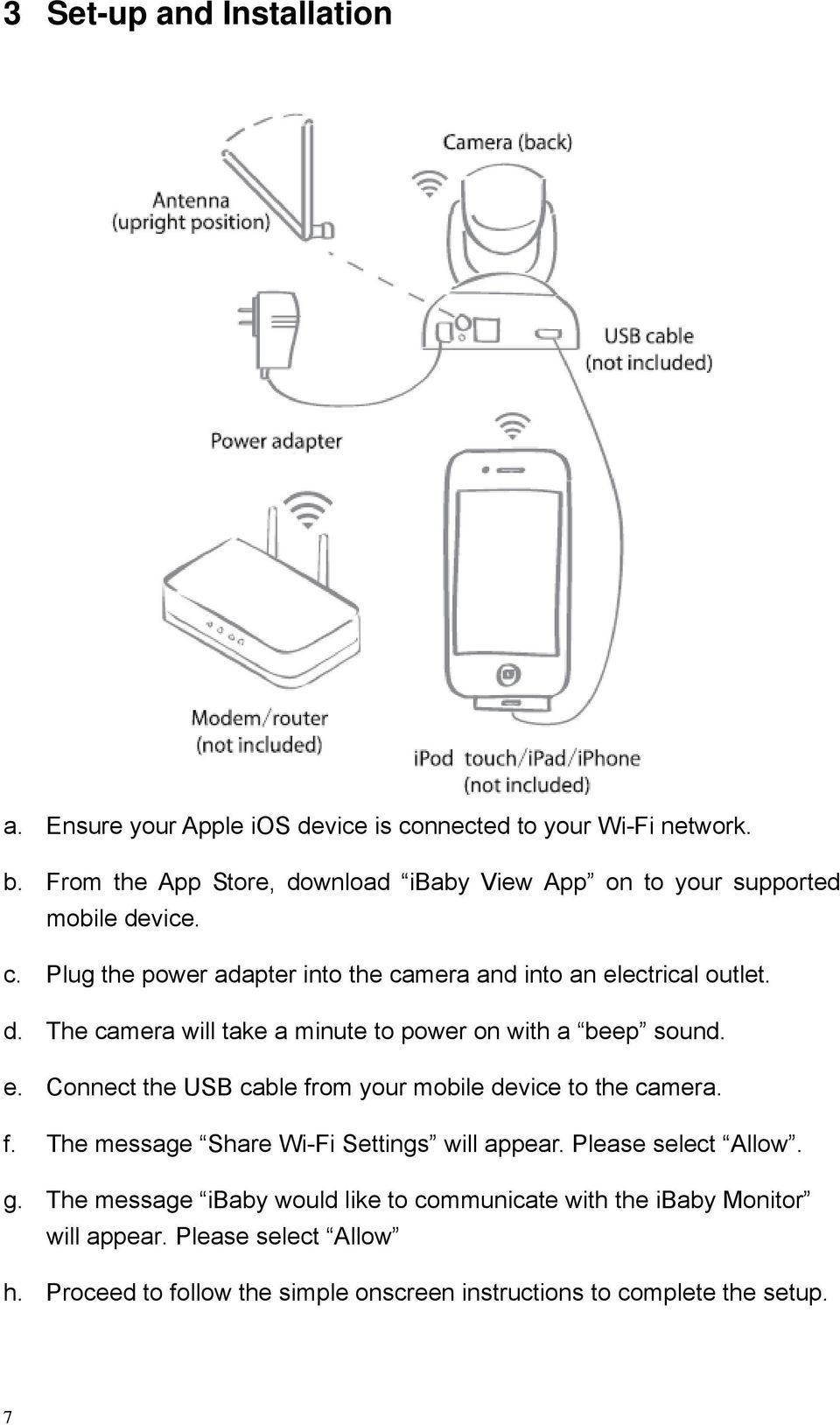 e. Connect the USB cable from your mobile device to the camera. f. The message Share Wi-Fi Settings will appear. Please select Allow. g.