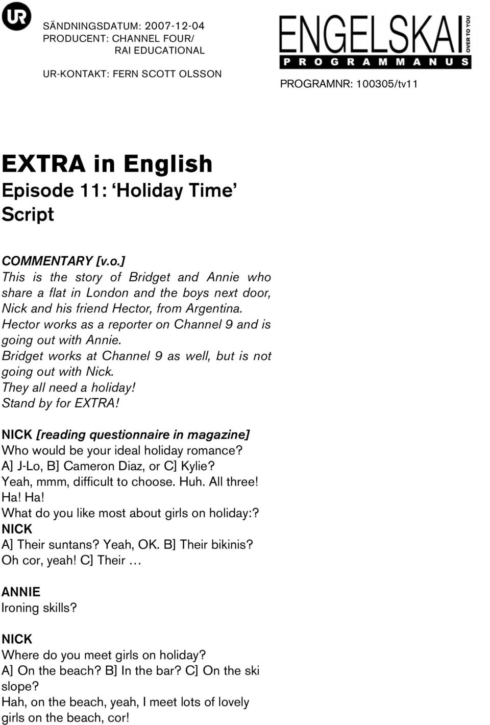 EXTRA in English Episode 11: Holiday Time Script - PDF