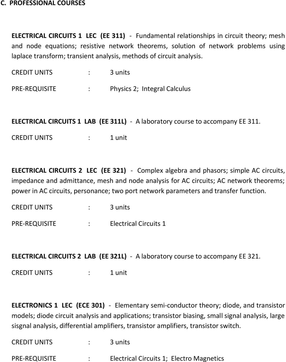 COURSE DESCRIPTION OF ELECTRICAL ENGINEERING - PDF
