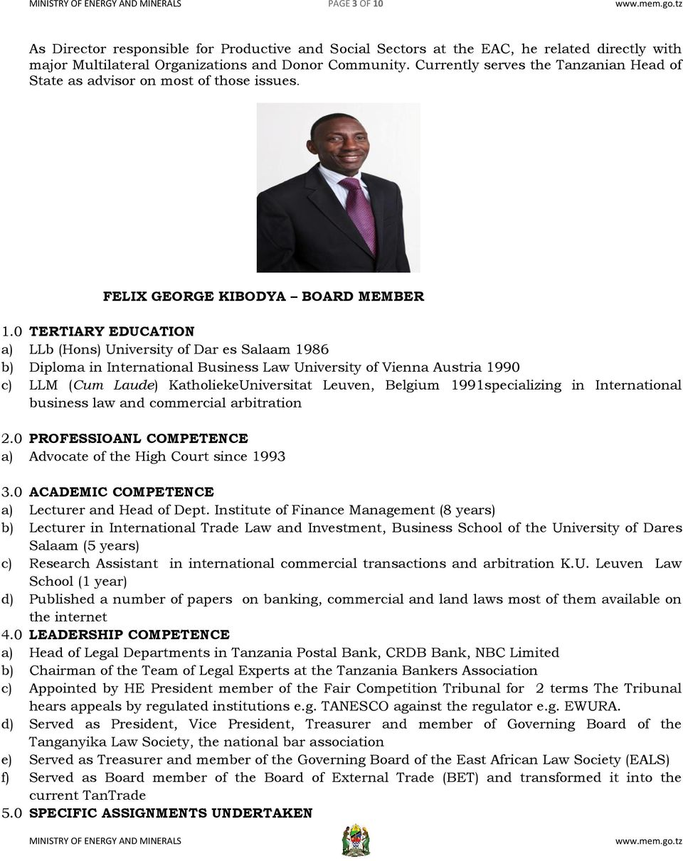 TANZANIA ELECTRIC SUPPLY COMPANY (TANESCO), BOARD OF