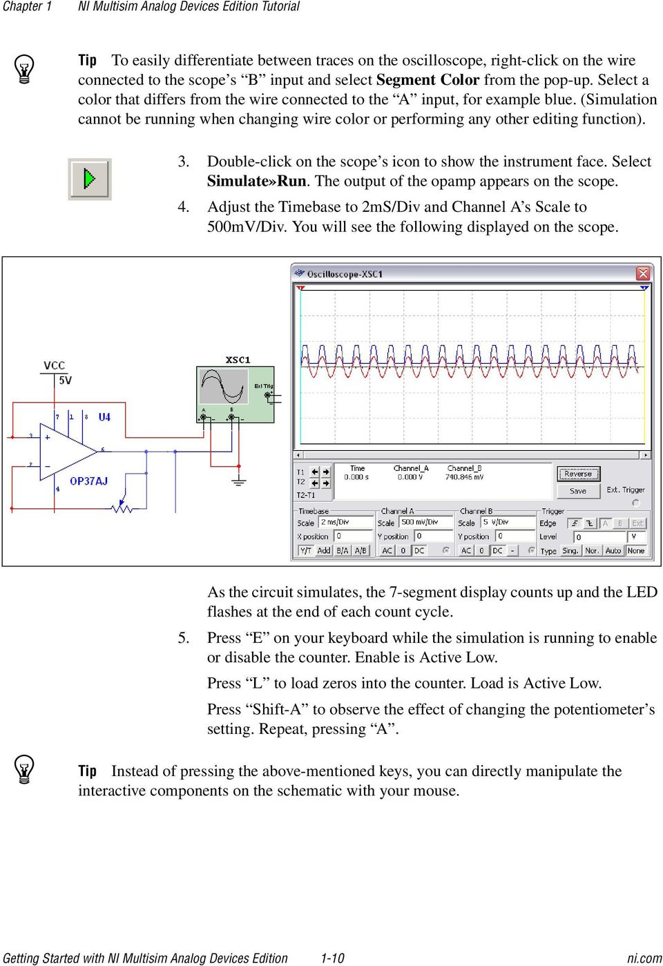 Ni Multisim Analog Devices Edition Pdf Counter Using 7 Segment Display Public Circuit Online Double Click On The Scope S Icon To Show Instrument Face Select Simulate