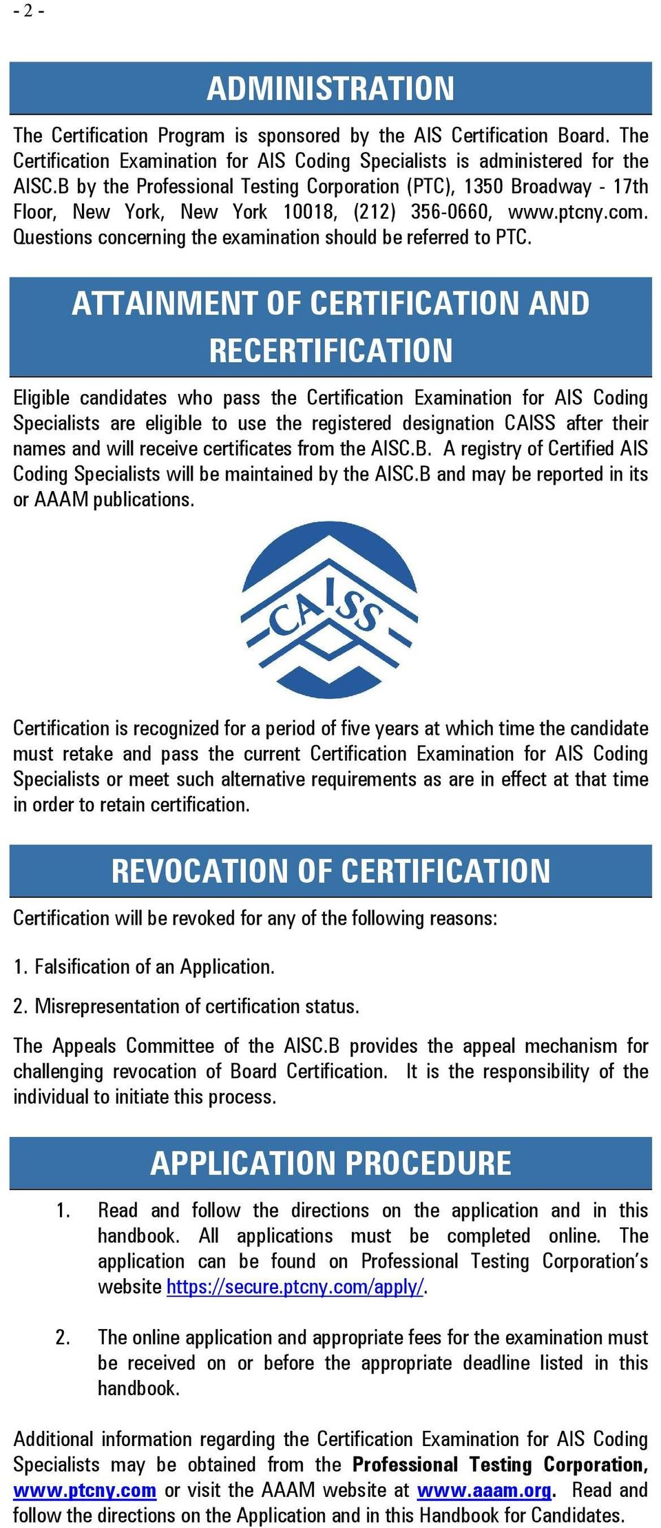Certification Examination For Ais Coding Specialists Handbook For