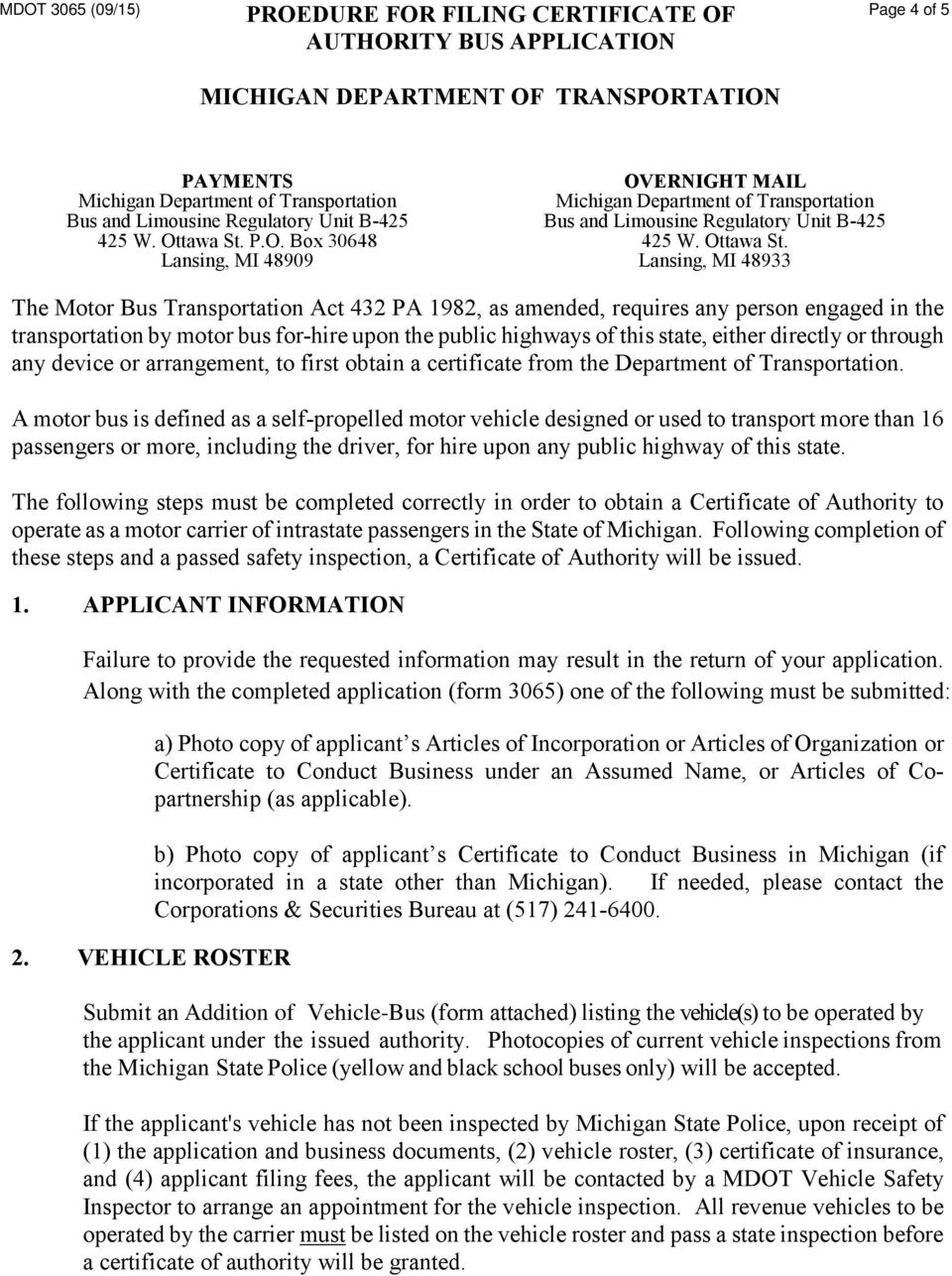 Application For Certificate Of Authority Bus Pdf