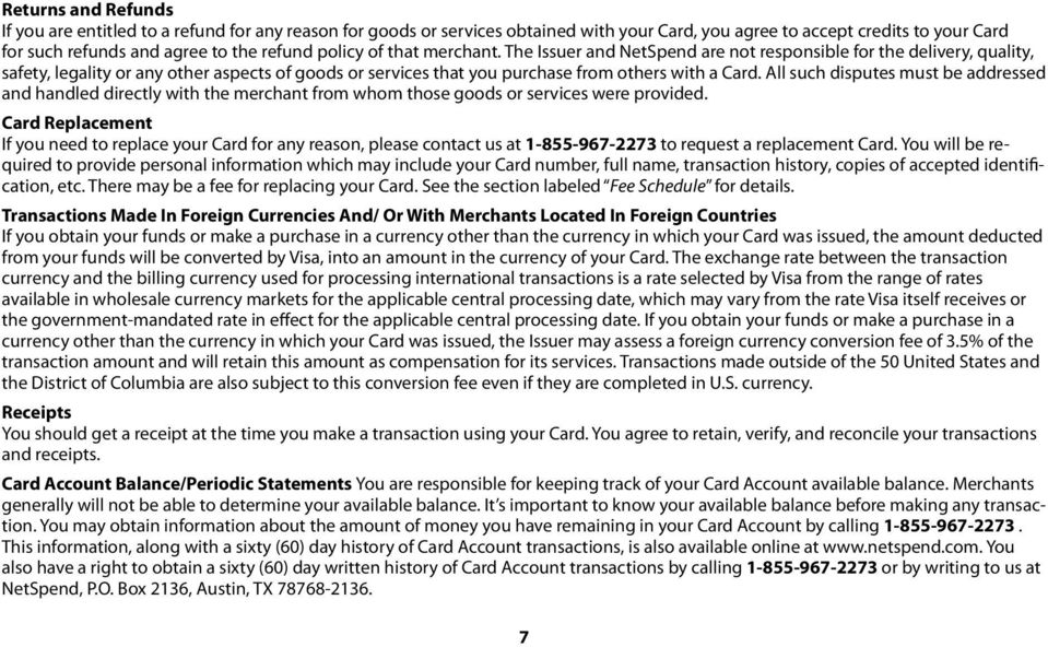 NetSpend Terms and Conditions - PDF