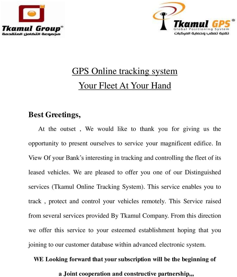 GPS Online tracking system Your Fleet At Your Hand - PDF