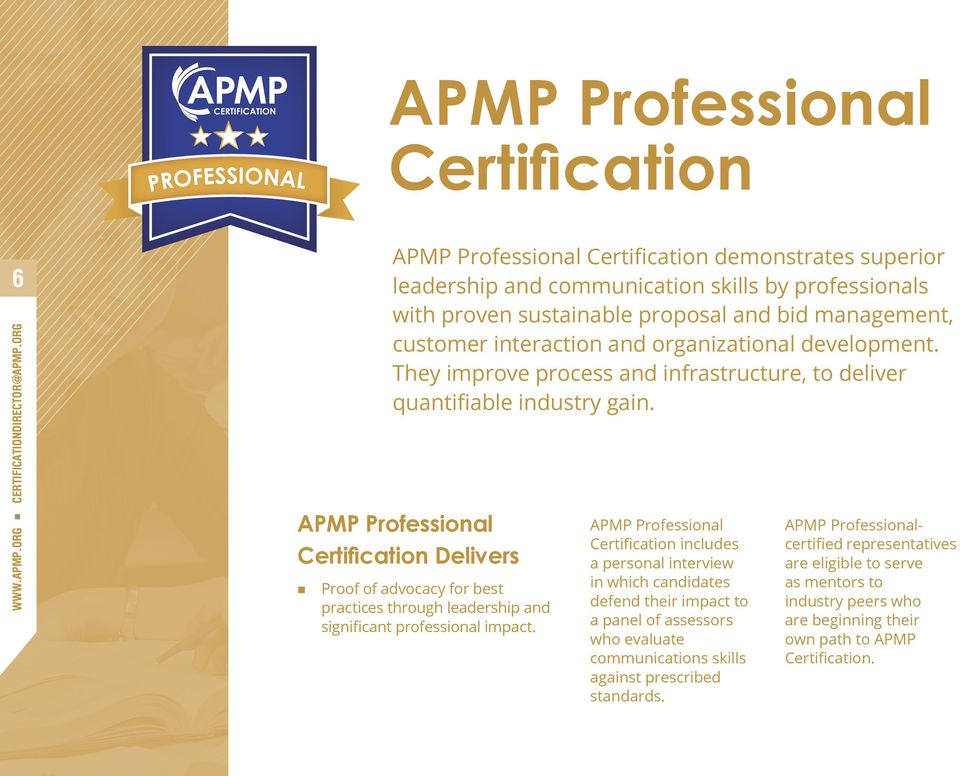 apmp certification. demonstrates personal commitment to your career ...