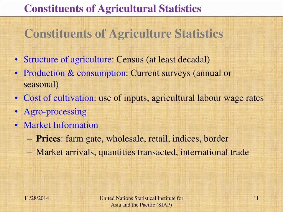 Cost of cultivation: use of inputs, agricultural labour wage rates Agro-processing Market Information