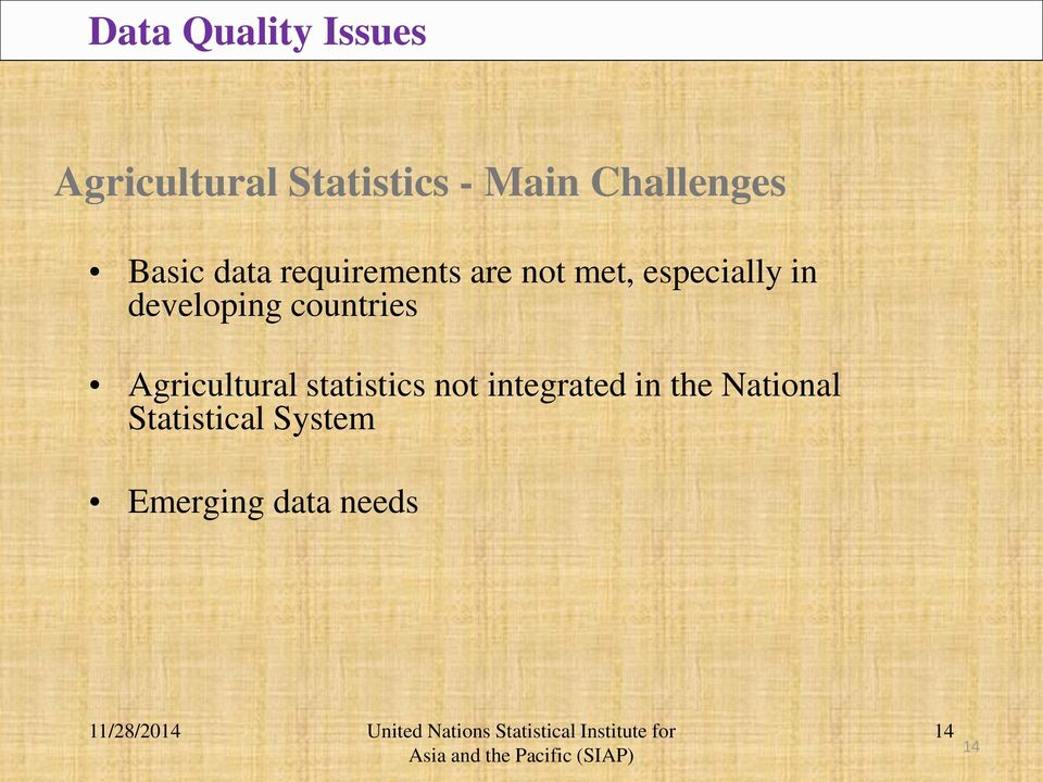 in developing countries Agricultural statistics not