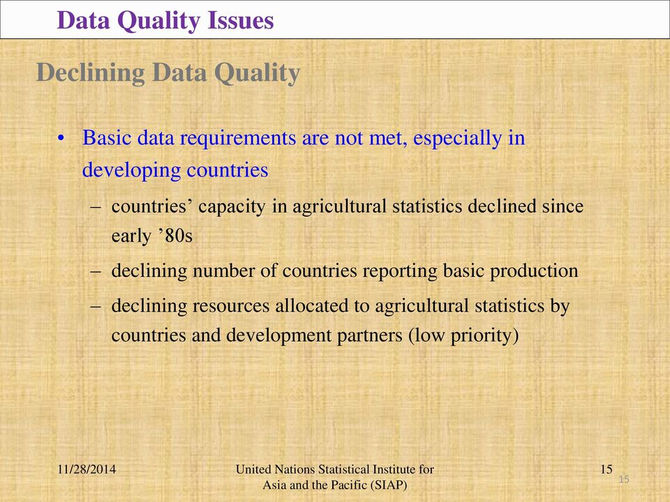 since early 80s declining number of countries reporting basic production declining