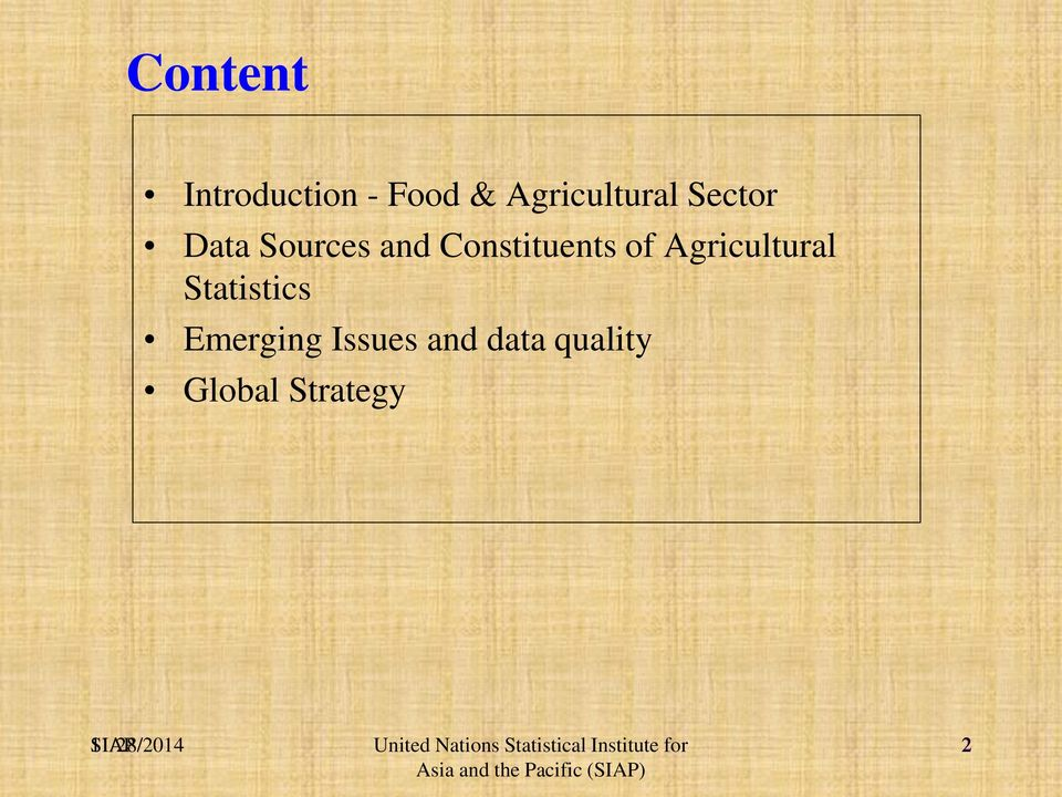 Constituents of Agricultural Statistics