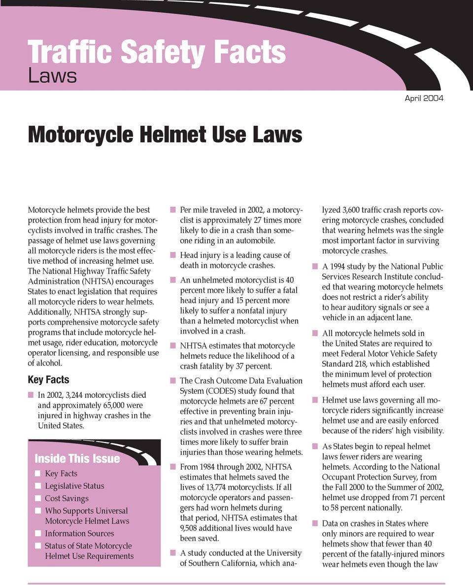 The National Highway Traffic Safety Administration (NHTSA) encourages States to enact legislation that requires all motorcycle riders to wear helmets.