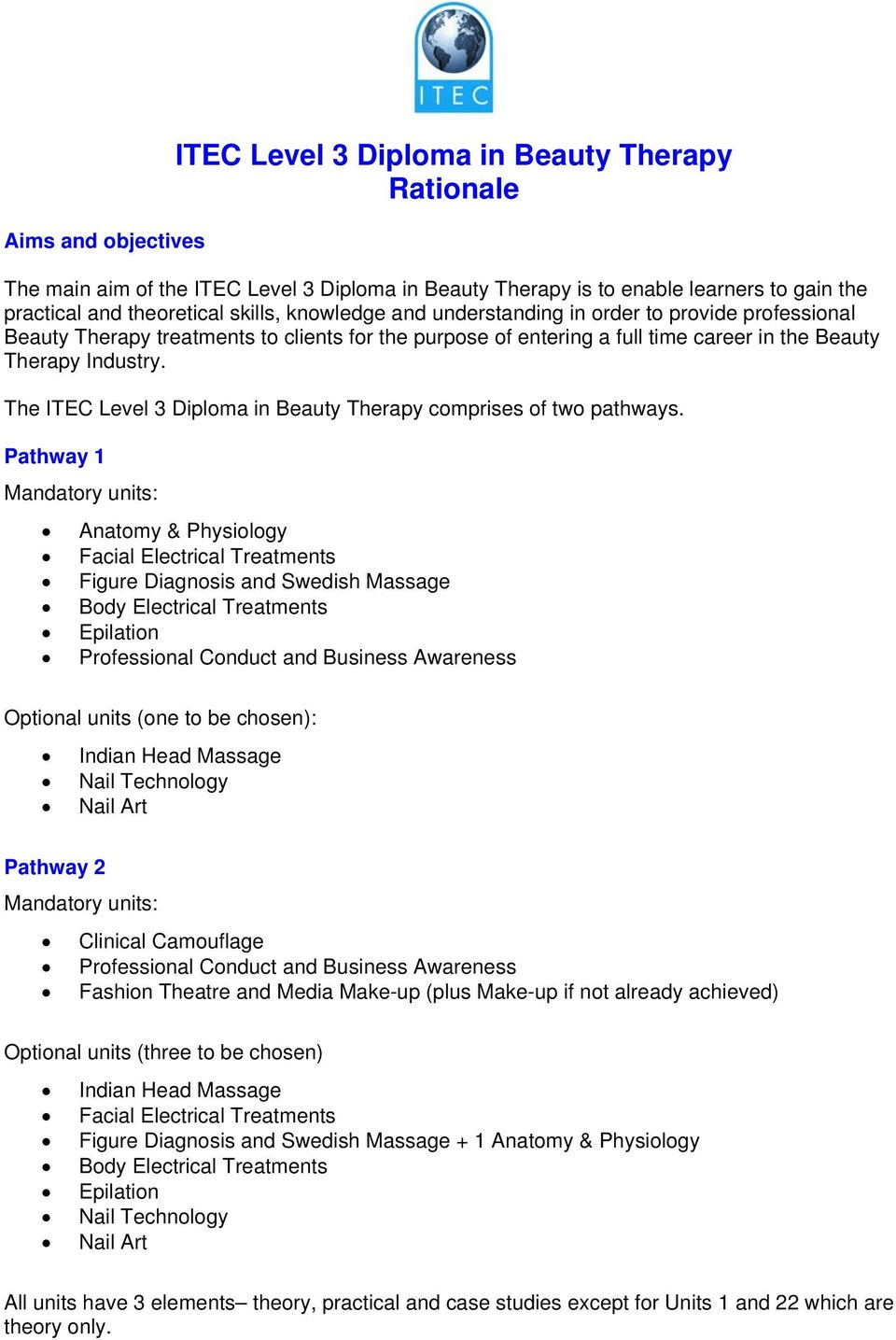 Itec Level 3 Diploma In Beauty Therapy Rationale Pdf Free Download