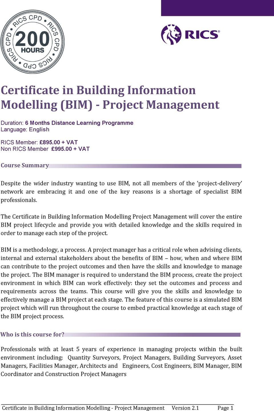 Certificate In Building Information Modelling Bim Project