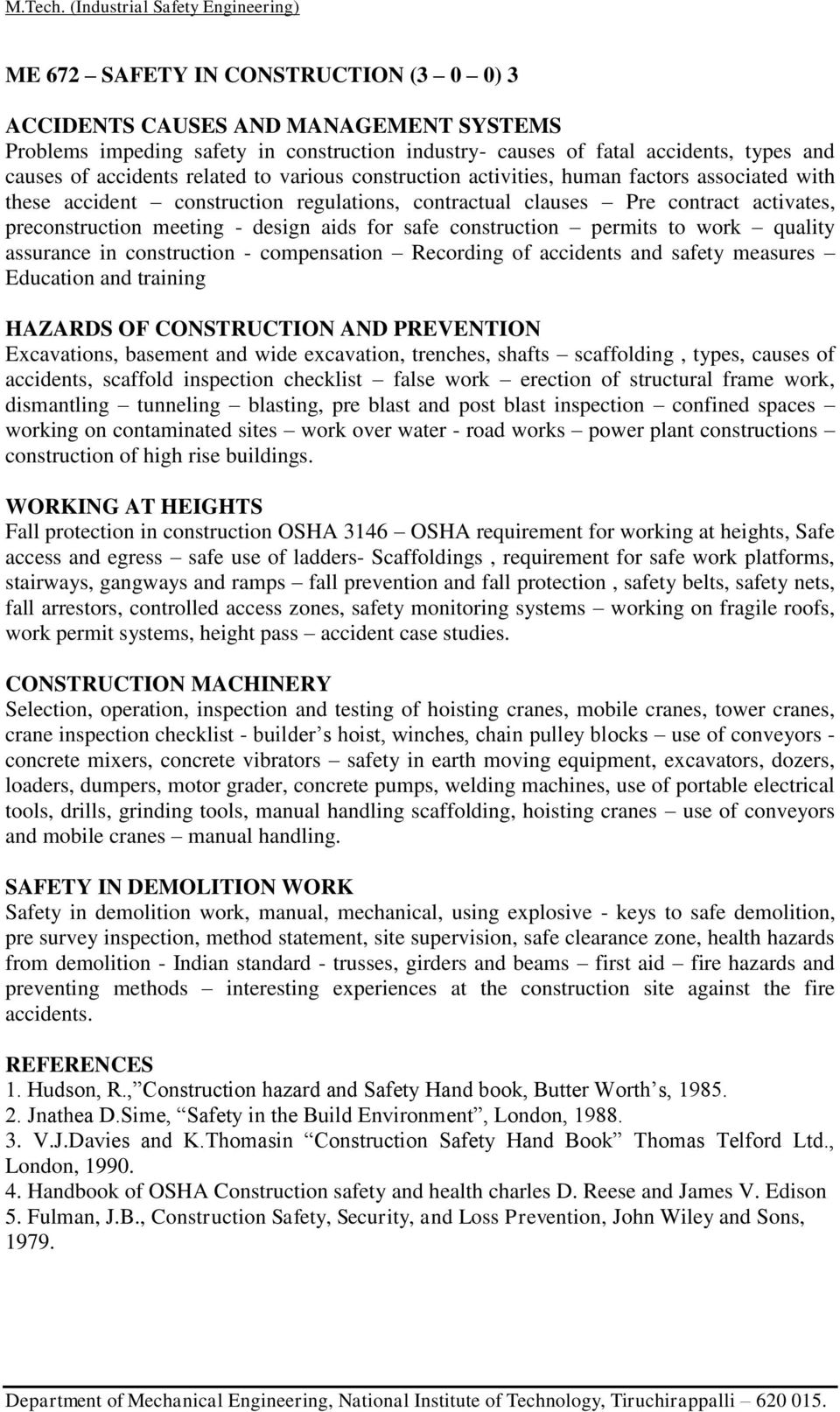 M  Tech  DEGREE INDUSTRIAL SAFETY ENGINEERING - PDF